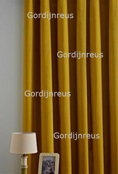 Nieuw! Plooigordijn Superdik luxe stof Mustard 280 x 250 cm
