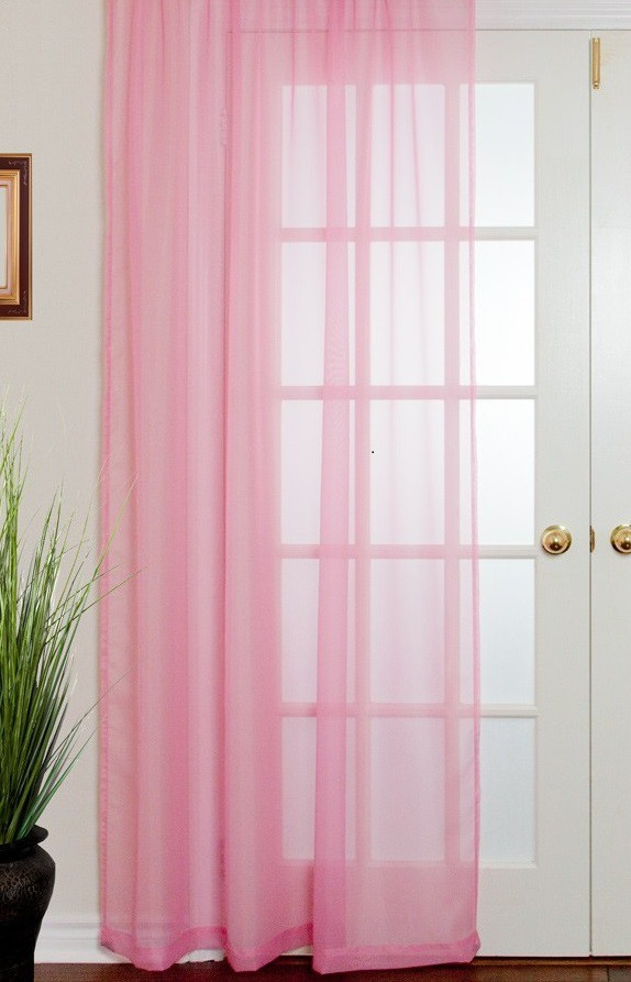 Vitrage ringgordijn Roze