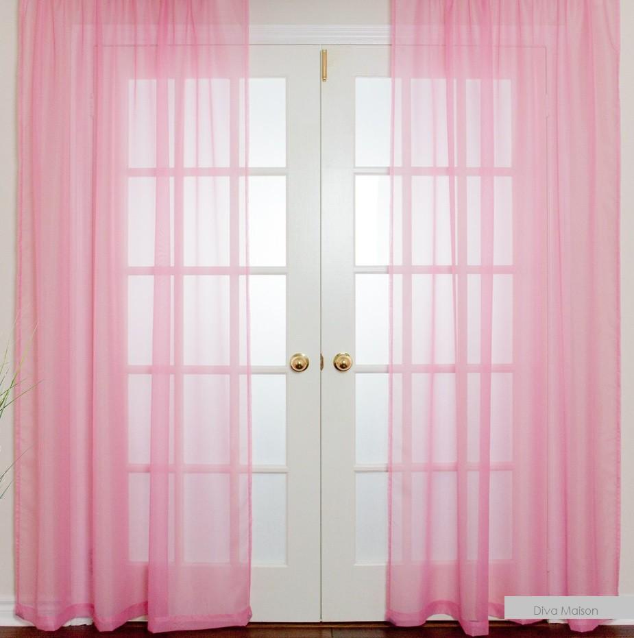 Vitrage plooigordijn Roze - 2 stuks