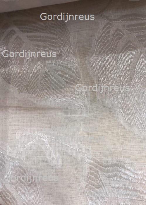 Vitrage Plooigordijn Wit met Bladeren Motief 2 stuks 280 cm x 250 cm