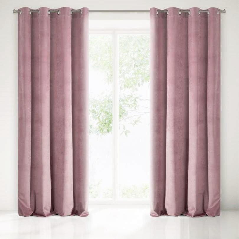 Velours ringgordijn roze 140x250cm x 2 stuks