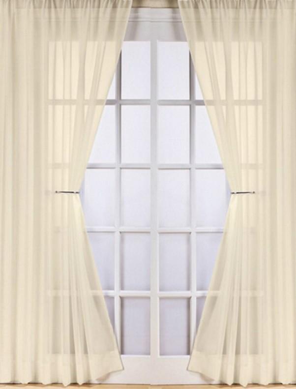 Vitrage plooigordijn creme 275 cm breed