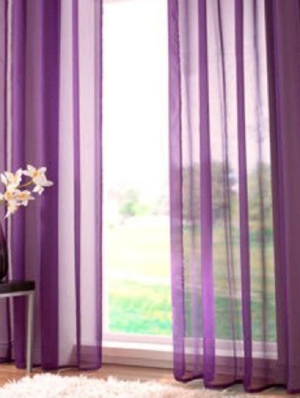 Vitrage plooigordijn paars - 2 stuks