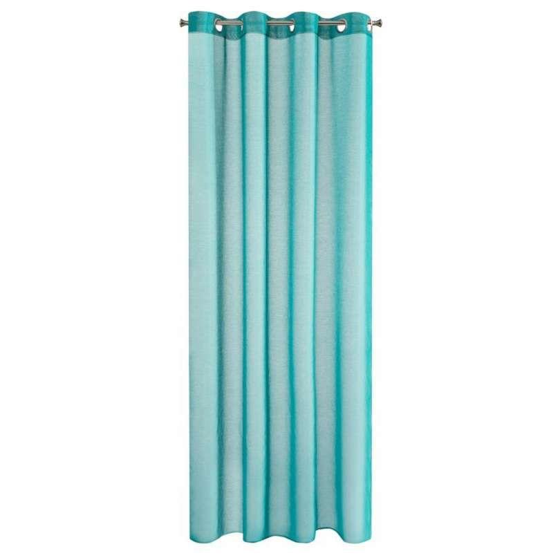 Vitrage gordijn met ringen turquoise