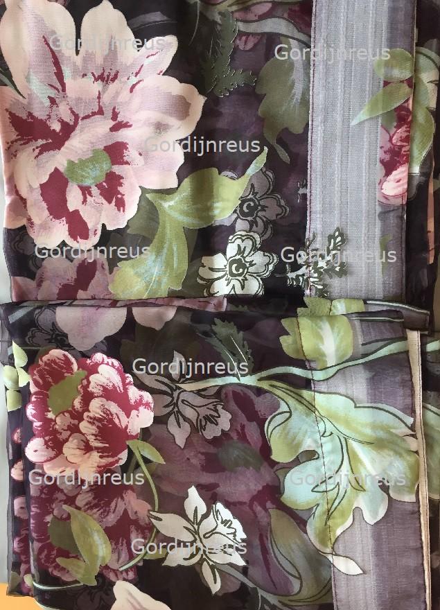 Vitrage plooigordijn Donkerpaars met bloemen 2 stuks - 250cm x 250cm